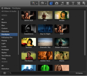 FilmStyles in Effects Browser